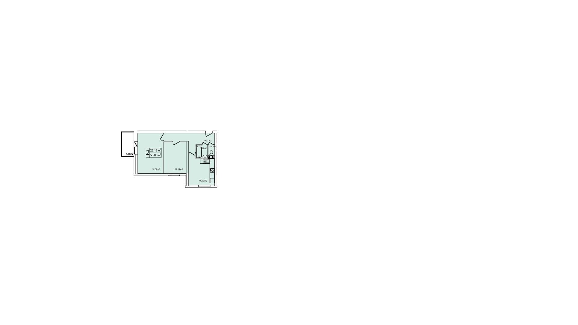 Планировка Двухкомнатная квартира площадью 53.9 кв.м в ЖК «Нью-Тон»